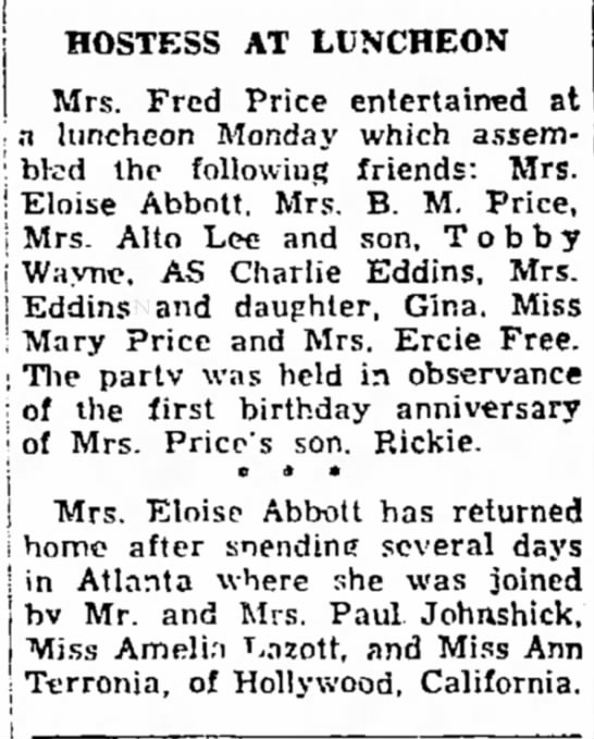 Charlie, Sarah and Gina Eddins, The Dothan Eagle, 25 March 1945 -