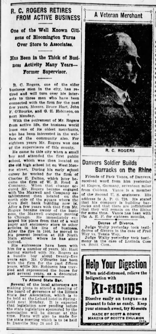 29 Mar 1919  Rogers Wallpaper Store -