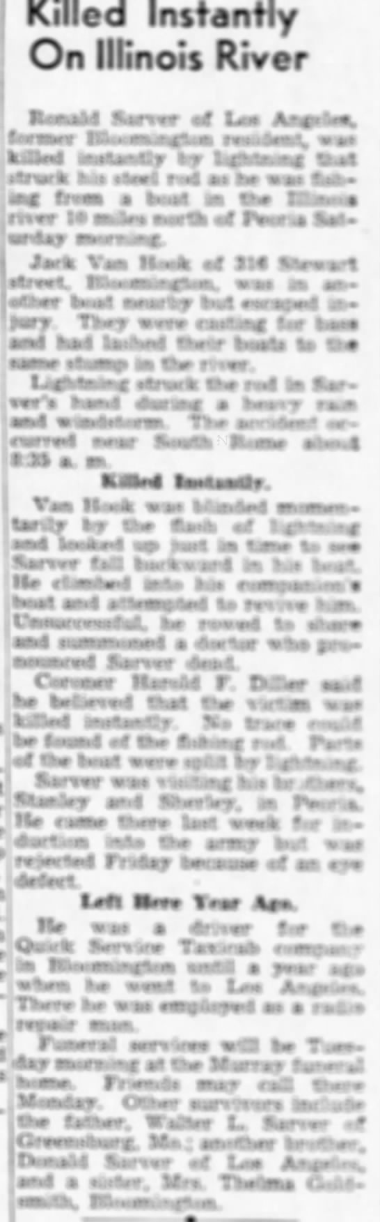 Ronald Sarver Death Article 1942 -