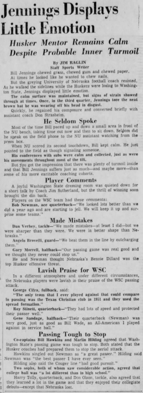 1957 Bill Jennings' first game -