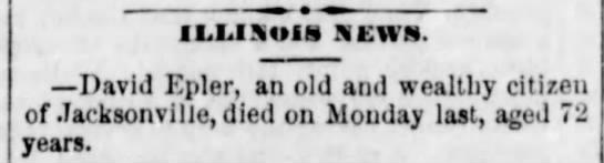 David Epler death 1877 -