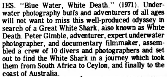 """Review of """"Blue water, white death"""" (1976) -"""
