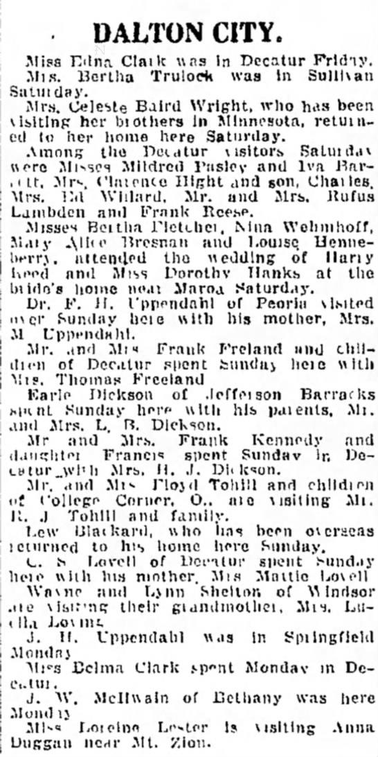 Dalton City 1 July 1919  -