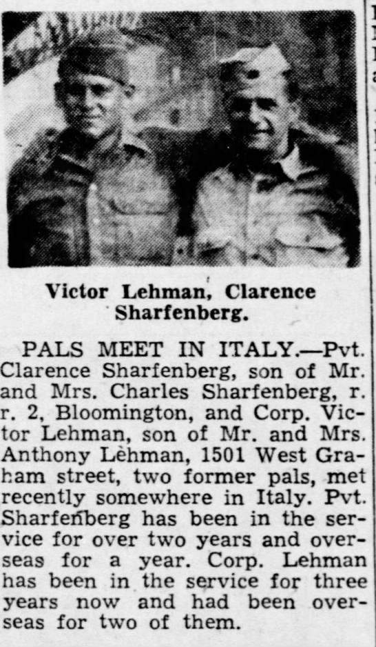 Victor Lehman 1944 - Victor Lehman', Clarence ' Sharf enberg. ' PALS...