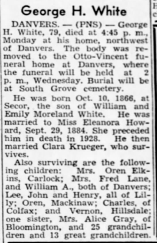 son of William and Sarah Emily Moreland White/husband of