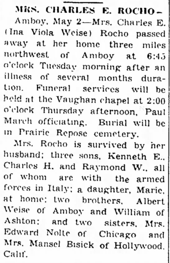Rocho, Mrs Charles E-may be related Dixon Evening Telegraph 2May1945 Illinois -