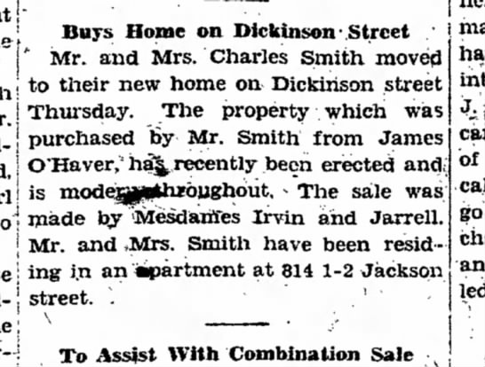 sold home on Dickinson St 12/2'1927 -