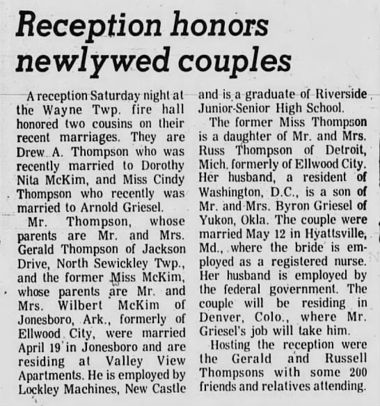 Reception honors newlywed couples -
