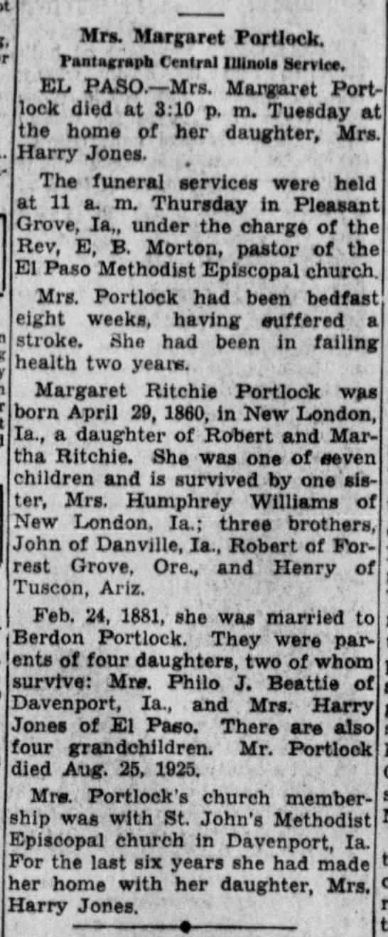 Portlock, Margaret Ritchie;obit; The Pantagraph, Dec. 24, 1936, Thu. pg 2 -