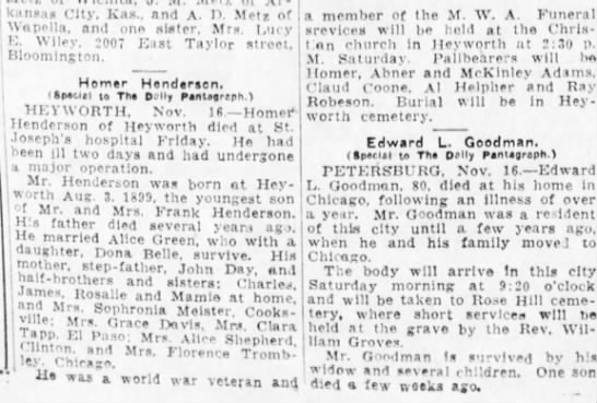 Henderson, Homer obit The Pantagraph 17 Nov 1928 page 2 col 2 -