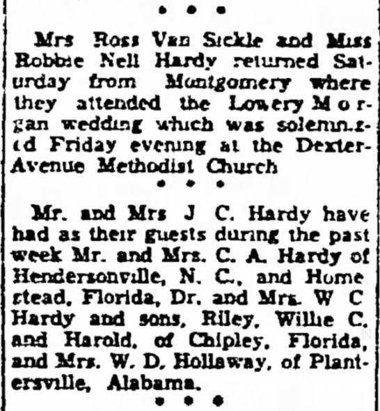 Robbie Hardy, Mr. and Mrs. J. C. Hardy, The Dothan Eagle, 23 Oct 1944 -