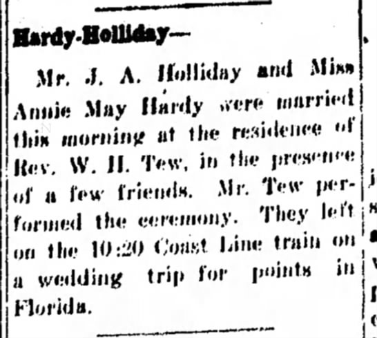 Hardy Holliday Wedding, The Dothan Eagle, 20 Oct 1915 -