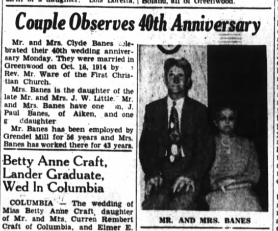 Mr & Mrs Clyde Banes 40th Anniversary -