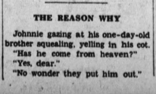 The Index-Journal(Greenwood, South Carolina) 5 July 1934, Thu, Pg 4, The Reason Why, Funny Stuff -