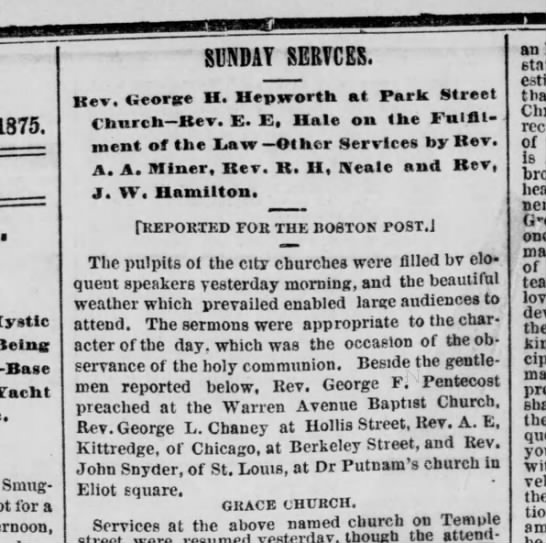 1875.09.06 Notice Rev Chaney to Preach at Hollis Street -