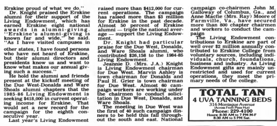 Erskine Living Endowment campaign 1985-86 -