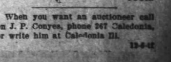 1916 April 3 BDR -J.P. Conyes auctioneer. -