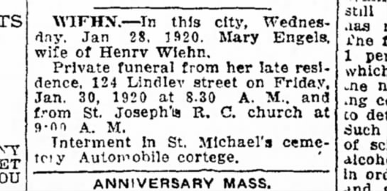 Mary Wiehn funeral notice -