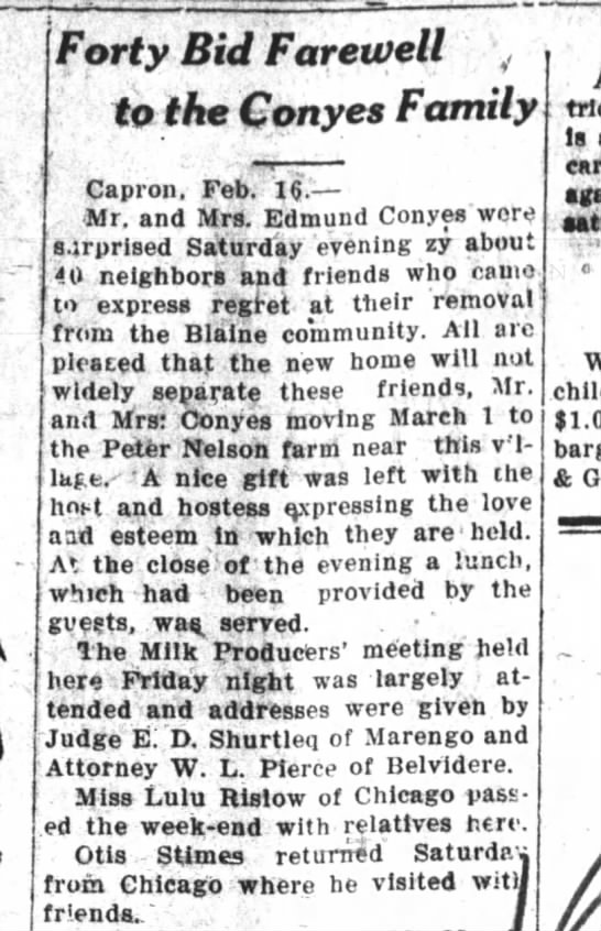 1926 Feb 16 Farewell Party from Blaine area to Nelson farm north of Capron. -