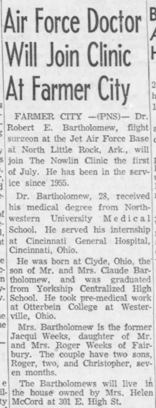 Robert E Bartholomew - Farmer City Clinic -