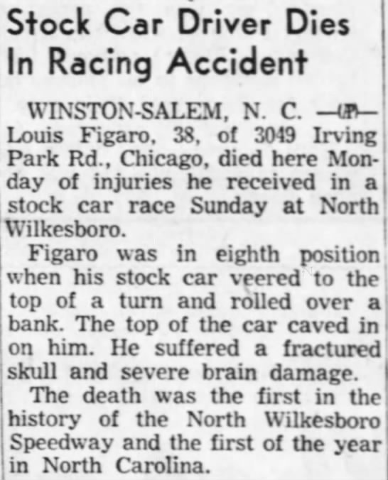 Death of race car driver Lou Figaro -