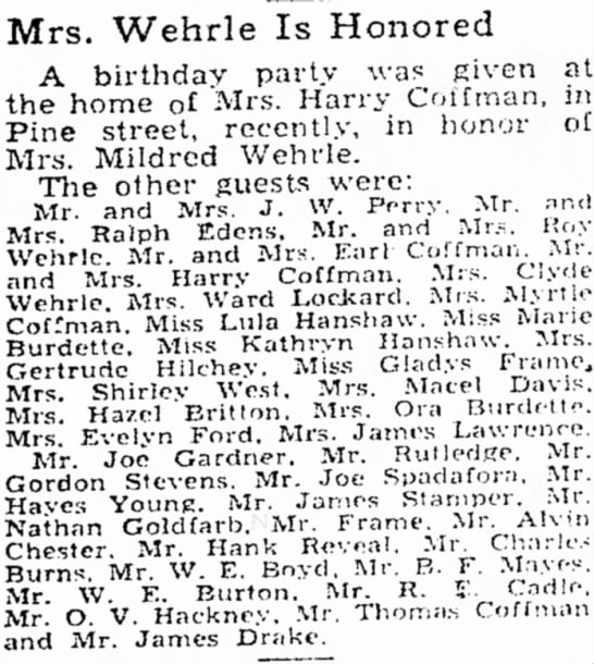 Party for Mildred Wehrle April 9, 1935 -
