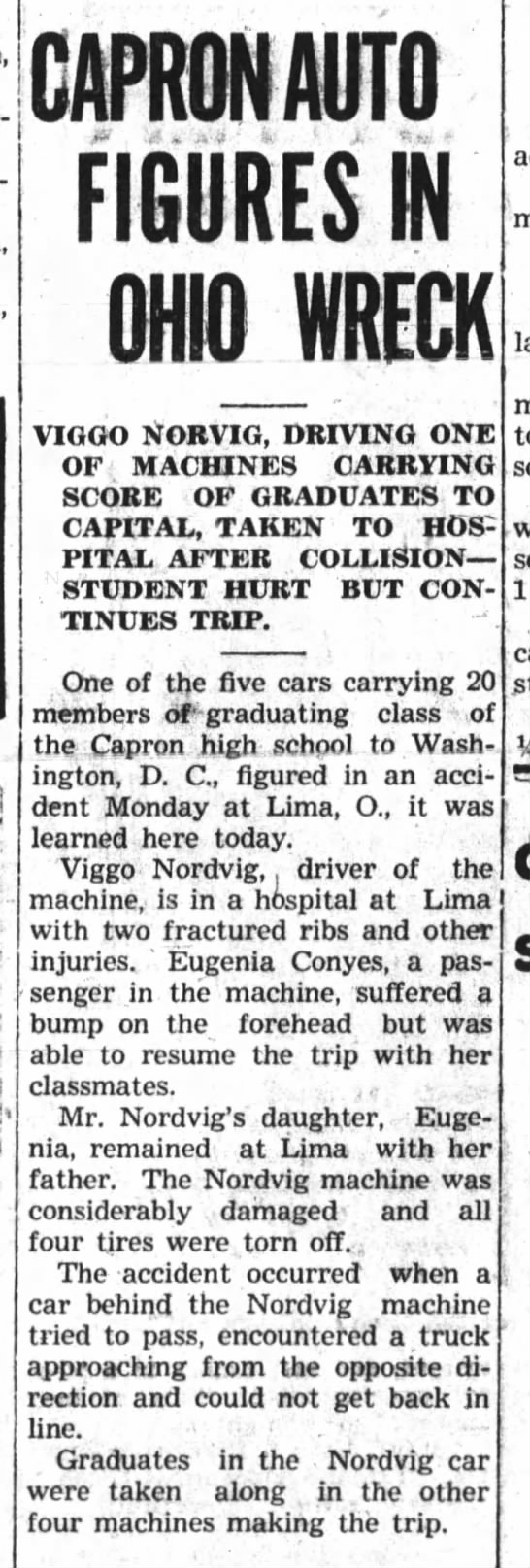 1939 May 24 BDR - Genie Conyes hurt in car accident while on class trip to Washington DC -