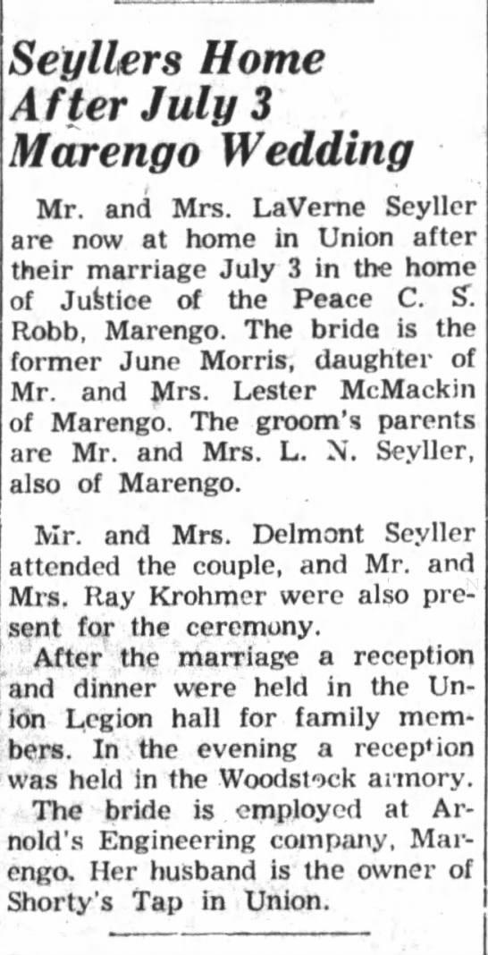 LaVerne Seyller Wedding 1954 -