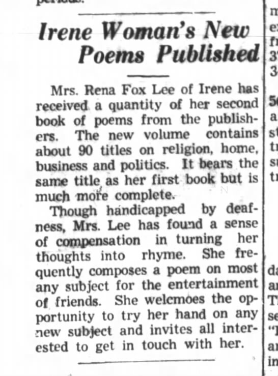 Rena Fox Lee poems published   Belvidere Daily Republican (Belvidere, Illinois) 19 Apr 1943, Mon -