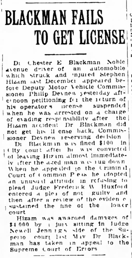 Stephen Hizam hit by automobile 1925 -
