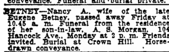 Nancy Bretney funeral The Indianapolis Star 26 May 1918 p25 -