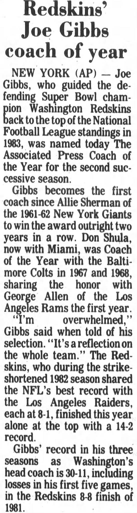 Redskins' Joe Gibbs coach of year -