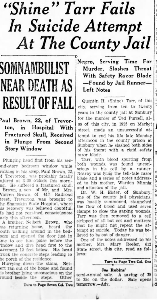 Shine Tarr attempts Suicide 7/5/1933 -
