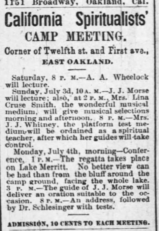 A.A. Wheelock, California Spiritualists' Camp -