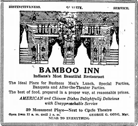 Bamboo Inn November 3 1918 George G. Gong Manager -