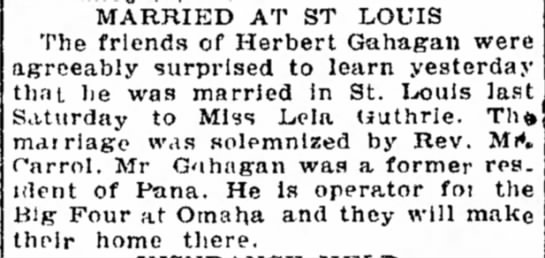 Herbert Gahagan marriage announcement - freight are have I %vas MARRIED AT ST LOUIS The...