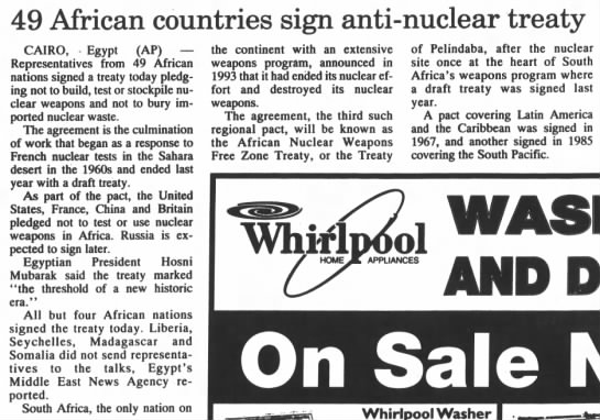 49 African countries sign anti-nuclear treaty (1996) -