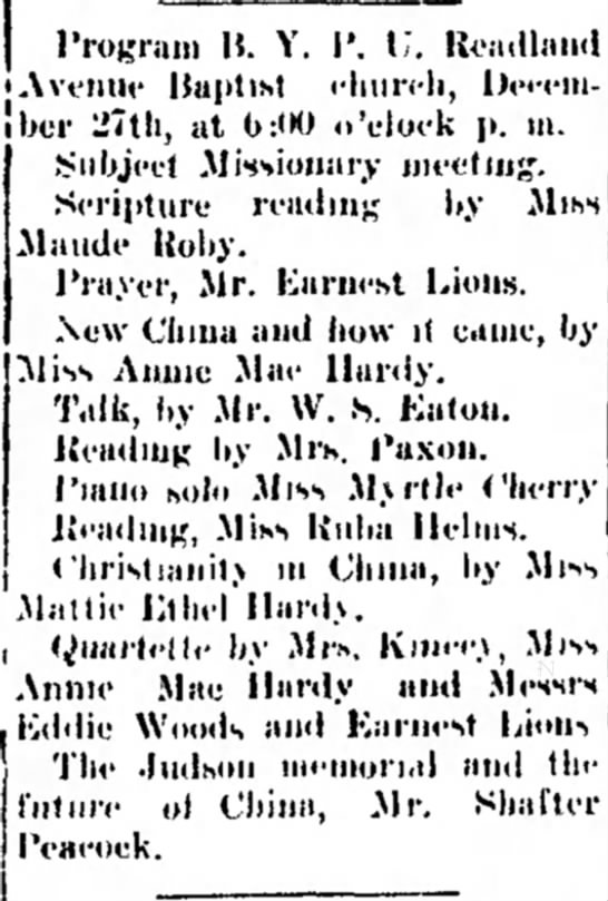 Annie Mae Hardy - The Dothan Eagle - 25 Dec 1914 -