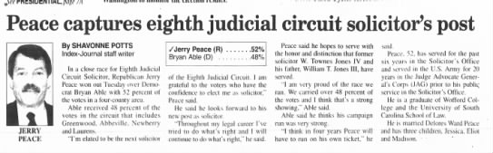 Jerry Peace captures eighth judicial circuit solicitor's post.  Greenwood, SC. Nov 3, 2004 -