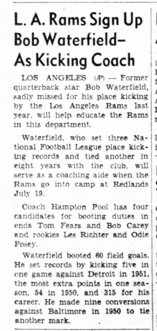 L. A. Rams Sign Up Bob Waterfield -- As Kicking Coach -