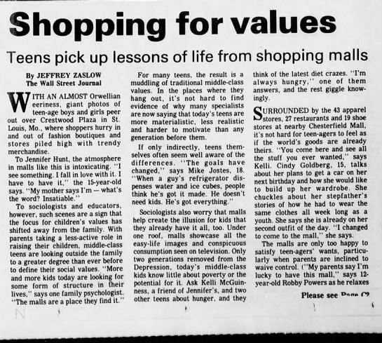 Generation X - Shopping Mall - Commentary on teens -