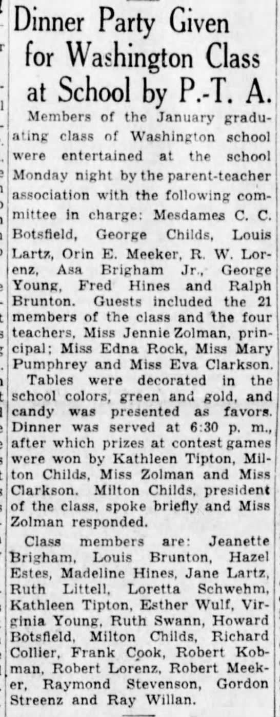 Jane Lartz school Dinner Jan 1932 -