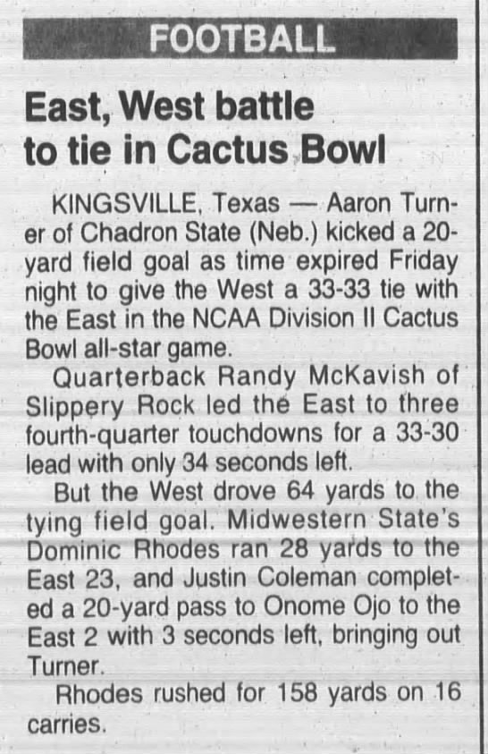 East, West battle to tie in Cactus Bowl -