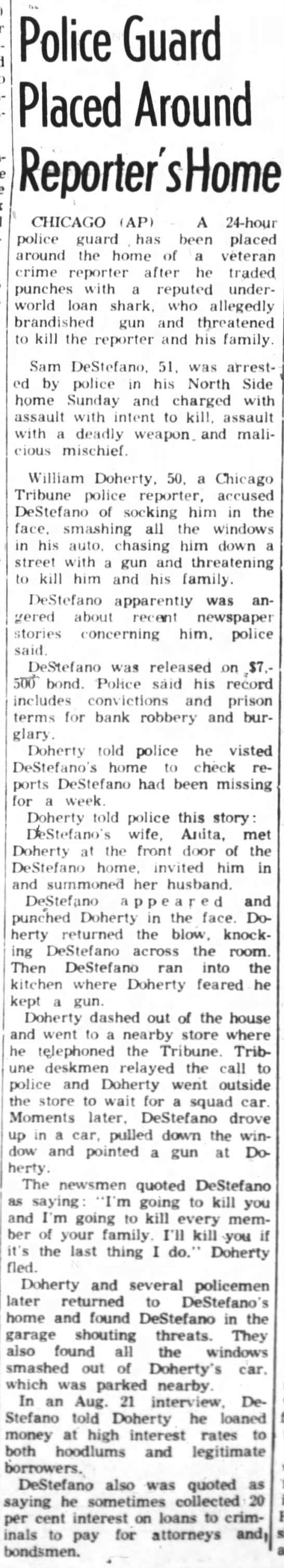 Sam DeStefano arrested after fight with reporter, threatens his family (1961) -