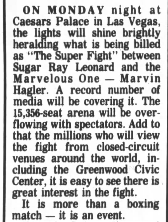 Boxing at Caesars 1987 -