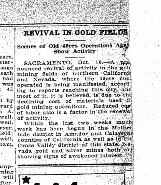 Revival of Gold Rush, Oct 1921 -