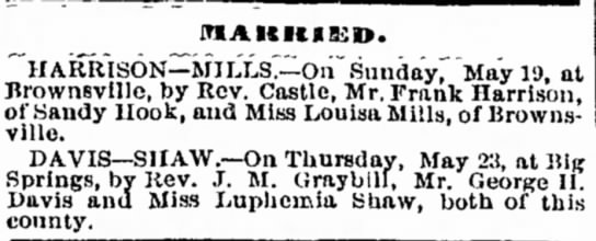 Marriage of George H Davis and Luphemia Shaw -