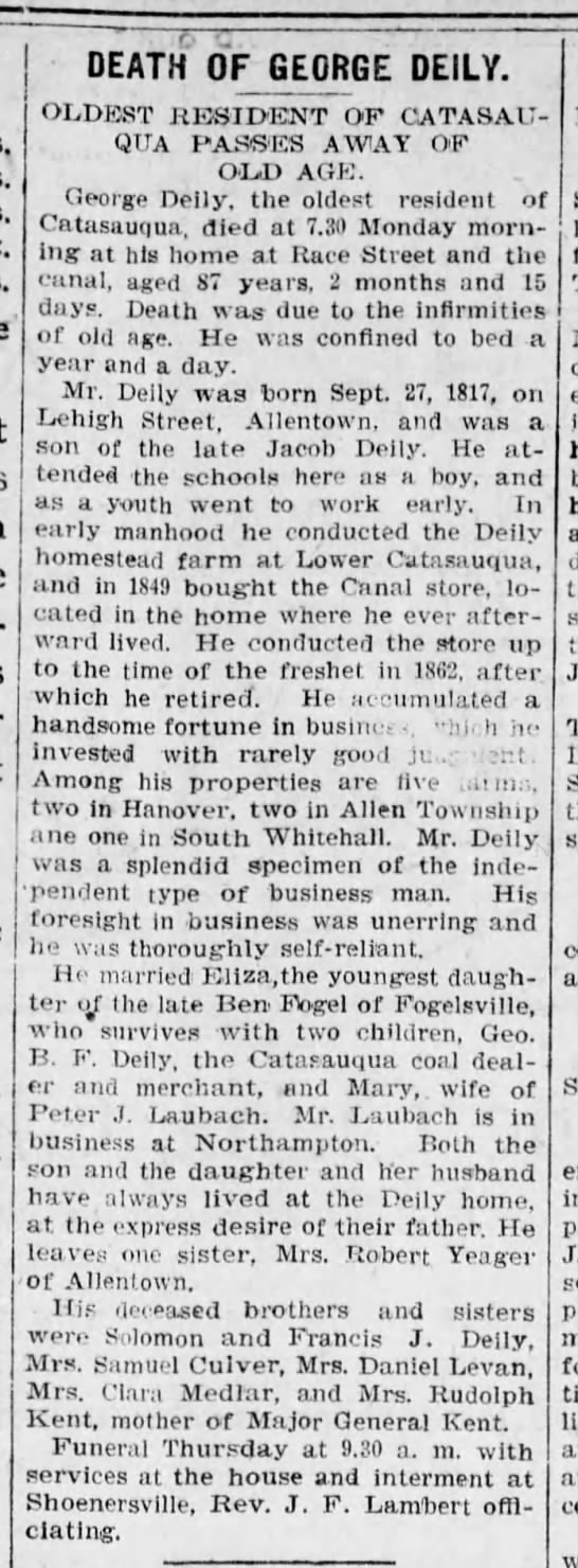 1902 Obit of George Deily, age 87, son of Jacob, wife of Eliza -