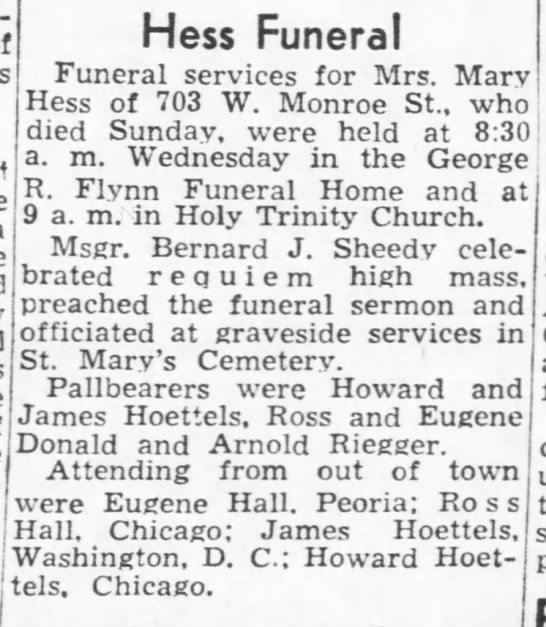 Mary Doyle Hess funeral -