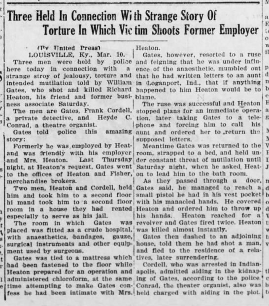 Three Held In Connection With Strange Story of Torture...Mount Carmel Item, PA, 10 Mar 1924, pg 1 -